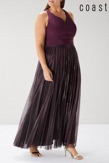 Coast Pink Curve Violetta Pleated Maxi Dress