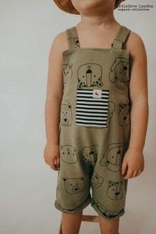 Turtledove London Organic Cotton Cub Faces Khaki Shortie Dungarees