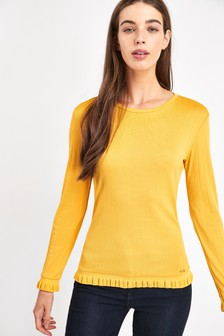 Armani Exchange Yellow Rib Jumper