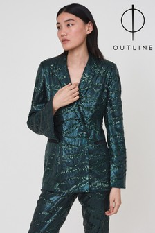 Outline Green Lennox Sequin Blazer