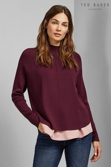 Ted Baker Oxblood Mockable Knit Jumper