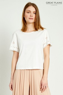 Great Plains White Bali Embroidery Round Neck Top