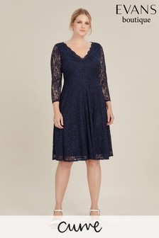 Evans Blue Curve Lace Fit And Flare Dress