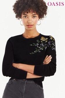 Oasis Black Isla Embroidery Jumper