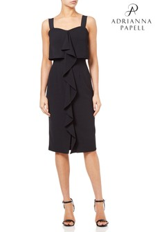 Adrianna Papell Black Textured Cascading Drape Midi Dress