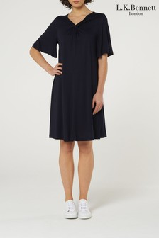 L.K.Bennett Blue Twist V-Neck Dress