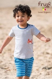 Frugi Organic Shorts mit Breton-Streifen und Krabben-Stickerei, Blau