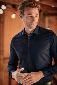 Long Sleeve Floral Jacquard Shirt