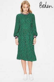Boden Green Roberta Rib Detail Dress
