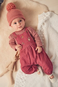 Embroidered Cord Dungarees And Bodysuit Set (0mths-2yrs)