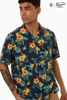 Chemise Original Penguin® bleue à fleurs