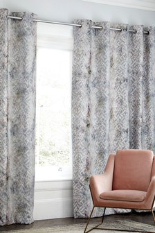 Cut Work Velvet Geo Eyelet Curtains