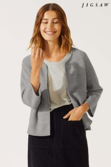 Jigsaw Grey Boiled Wool Side Zip Jacket