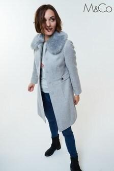 M&Co Faux Fur Collar Coat