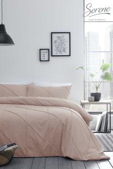 Serene Pink Dart Pleated Duvet Cover And Pillowcase Set