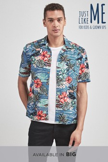 Regular Fit Matching Family Mens Hawaiian Print Shirt