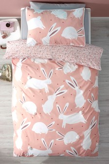 Parure taie d'oreiller et housse de couette motif lapin à pompons