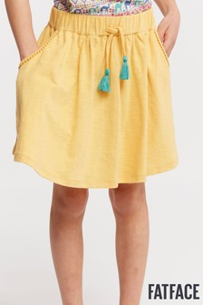 FatFace黃色素色平織裙