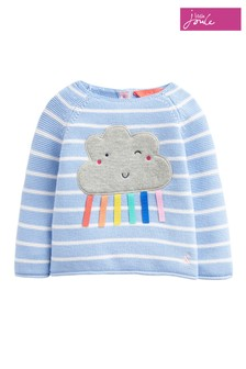 Joules Blue Winnie Rainbow Cloud Stripe Knitted Jumper