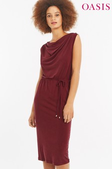 Oasis Red Cupro Cowl Neck Dress