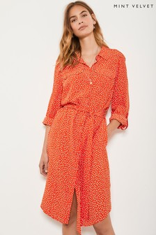 Mint Velvet Orange Spot Print Shirt Dress