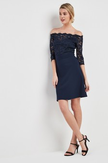 Lace Bardot Scuba Dress