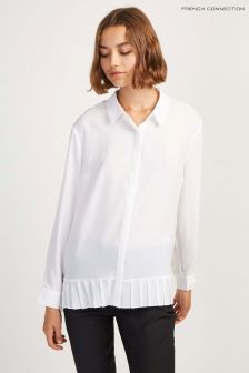 French Connection White Crepe Light Pleat Shirt