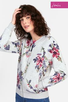 Joules Grey Floral Millie Print Quilted Jersey Bomber