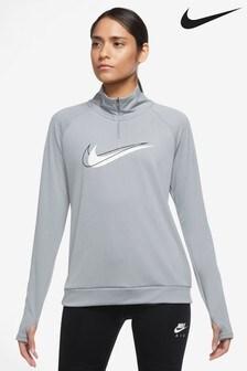 Nike Womens Grey Swoosh 1/2 Zip Running Top