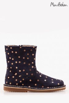 Boden Navy Short Leather Boot
