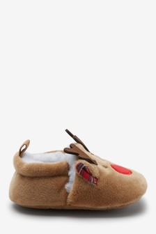 Reindeer Cosy Pram Slip-Ons (0-24mths)