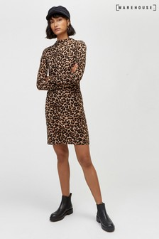 Warehouse Brown Pattern Animal Print Straight Dress