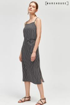 Warehouse Black Stripe Twill Front Pocket Dress