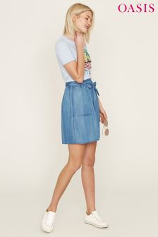 Oasis Blue Tencel® Paperbag Skirt
