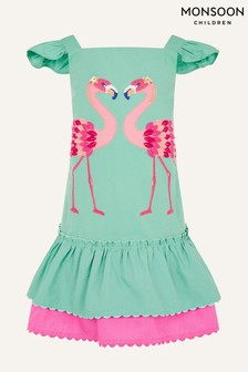 Monsoon Green Flamingo Appliqué Dress