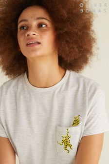 Oliver Bonas Grey Monkey Pocket T-Shirt