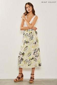Mint Velvet Nude Print Wrap Skirt