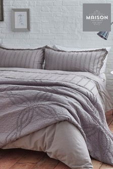 Maison Exclusive To Next Natural Stonewash Ruffle Duvet Cover and Pillowcase Set