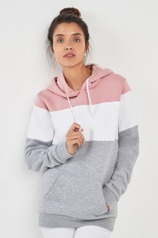 Pink/White/Grey Colourblock Longline Hoody