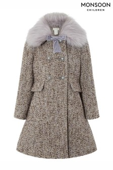 Monsoon Lavender Tweed Coat