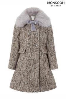 Manteau Monsoon en tweed lavande