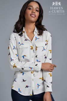 Hawes And Curtis White Relaxed Fit Bird Print Shirt With Pockets
