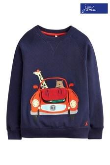 Joules Ventura Sweatshirt mit Auto-Applikation, blau