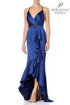 فستان قصير من الأمام ساتان أزرق من Adrianna Papell