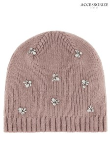 Accessorize Pink Embellished Beanie 92e248c978