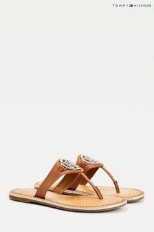 Tommy Hilfiger Tan Essential Leather Flat Sandals
