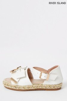 River Island White Decal Bow Espadrilles