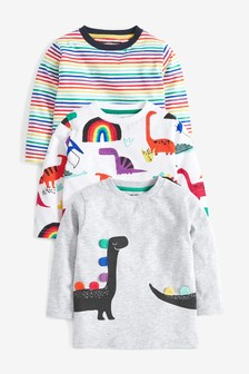 3 Pack Long Sleeve Rainbow Dino T-Shirts (3mths-7yrs)