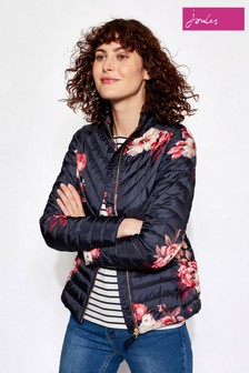Joules Navy Bircham Bloom Printed Chevron Quilted Jacket