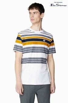 Ben Sherman White Reverse Knit Stripe T-Shirt